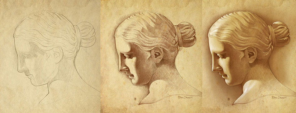 950x365 Statue Drawing Step By Step