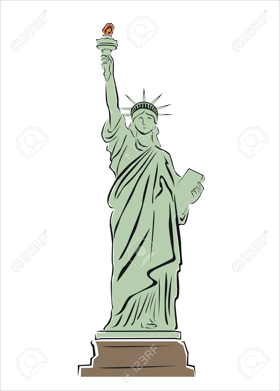 932x1300 Drawing Of The Statue Of Liberty Royalty Free Cliparts, Vectors
