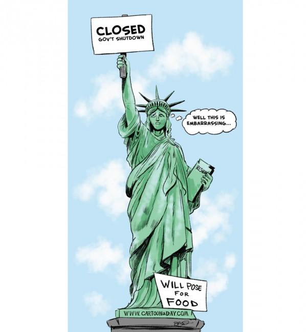 598x648 Government Shutdown Statue Of Liberty Cartoon