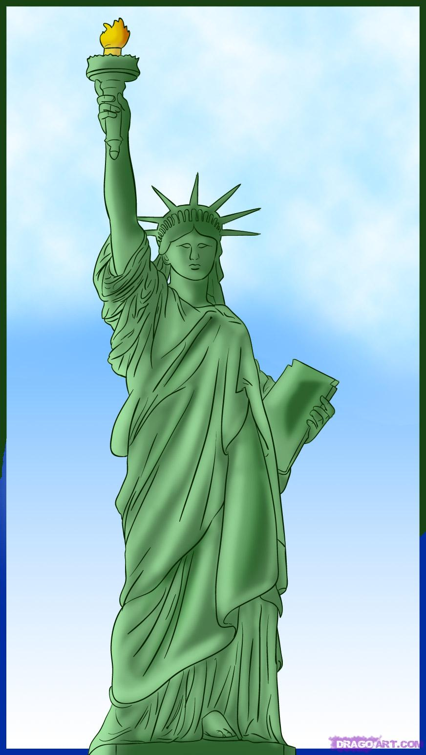 872x1544 Statue Liberty Cartoon Drawing Learn How To Draw The Statue