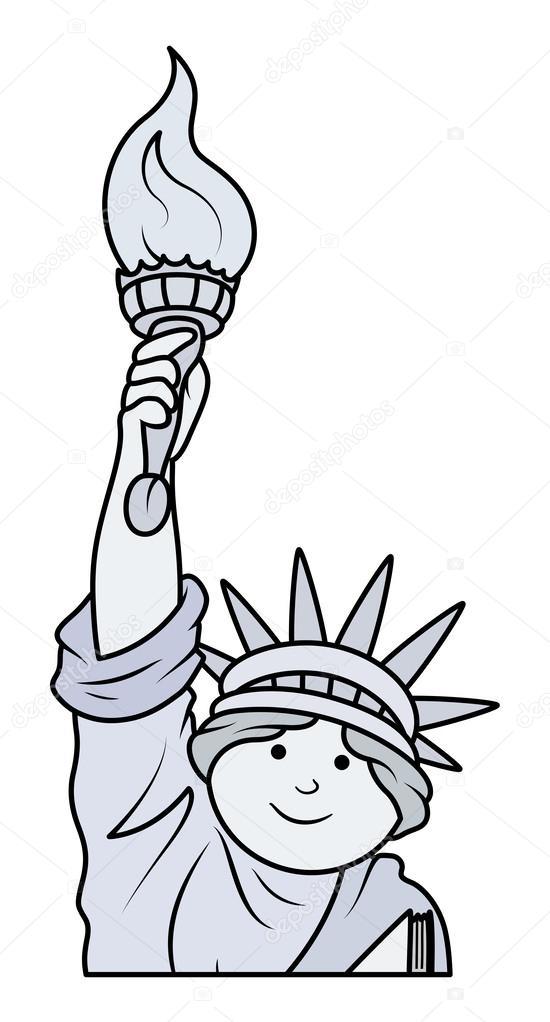 550x1022 Statue Of Liberty Cartoon Vector Stock Vector Baavli