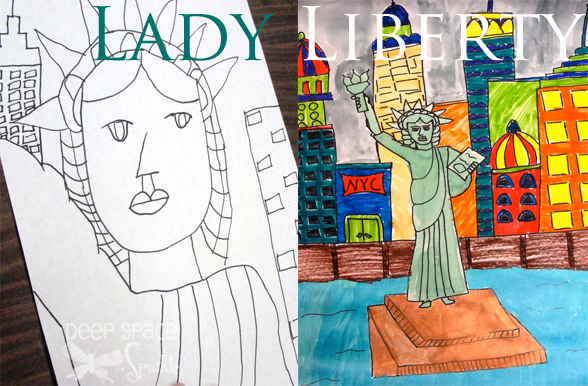 588x386 Lady Liberty With Watercolor Or Newspaper Deep Space Sparkle