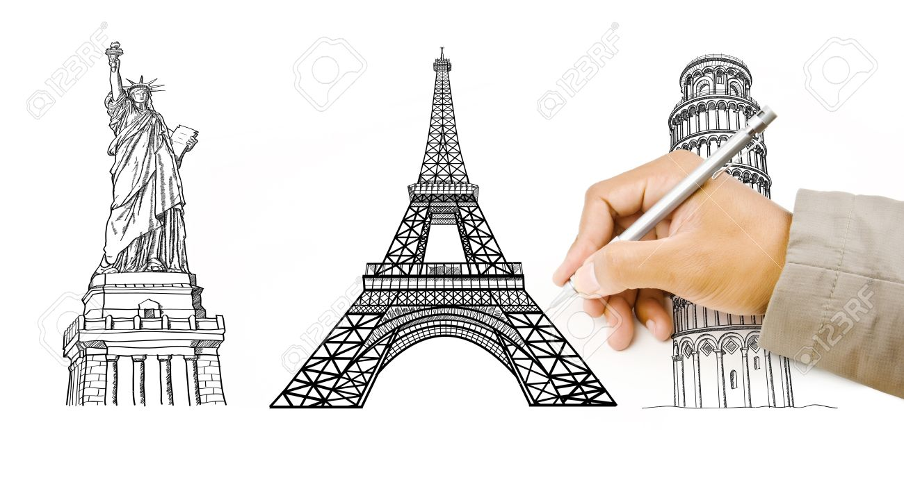 1300x707 Hand Drawing Statue Of Liberty, Pisa Tower, Eiffel Tower