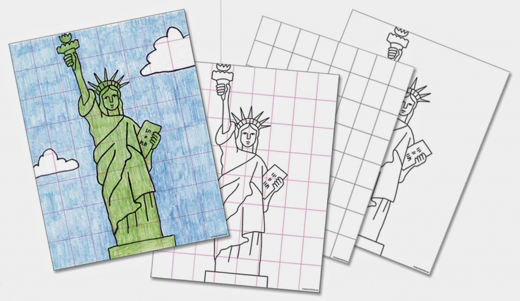 1024x593 Draw The Statue Of Liberty With The Grid Method