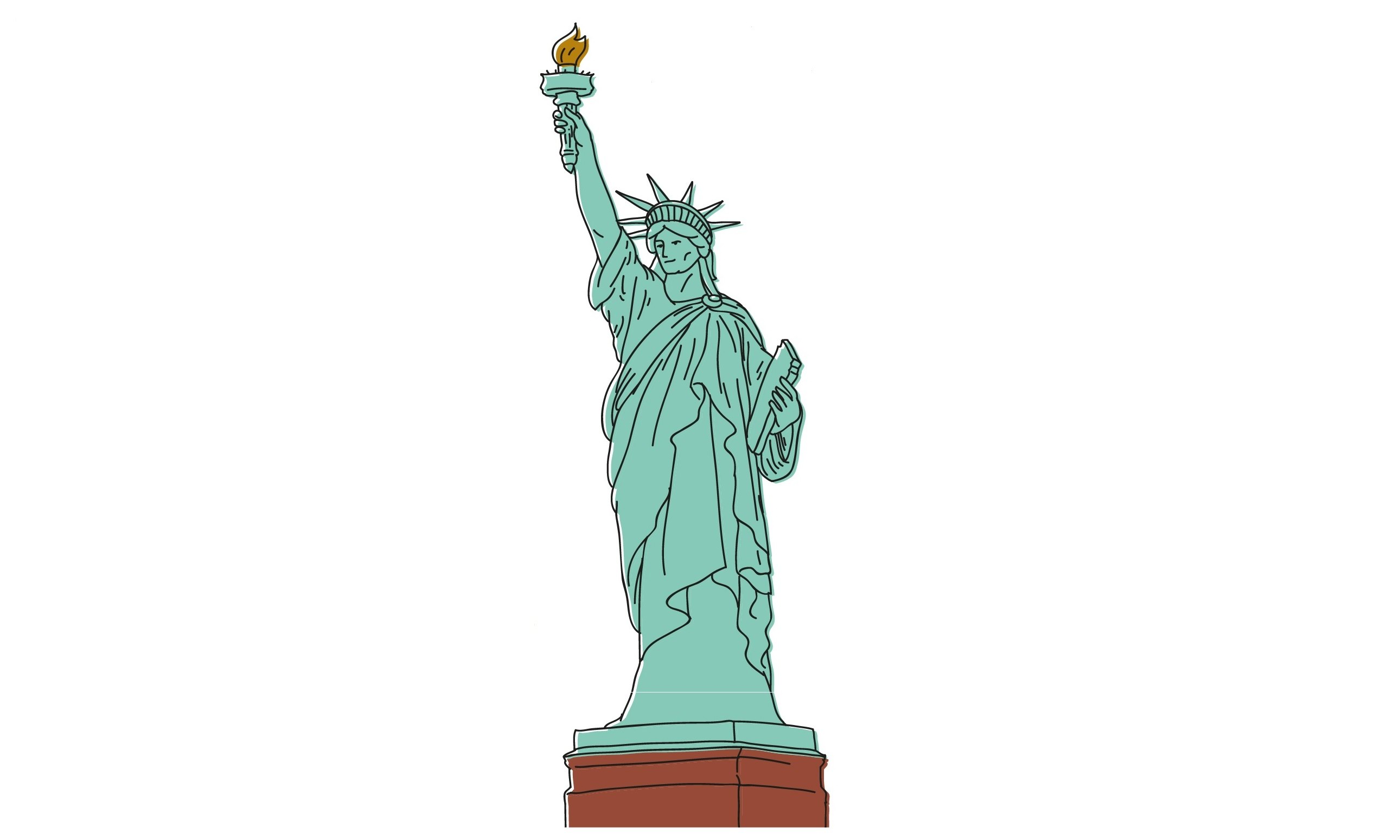 2581x1549 How To Draw A Statue Of Liberty