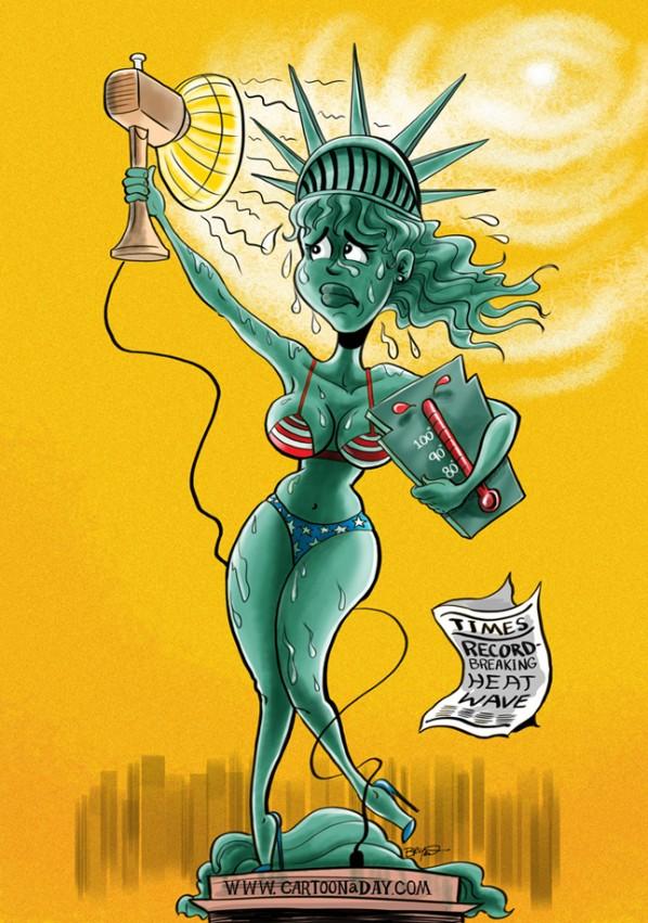 598x851 Statue Of Liberty National Heat Wave Cartoon