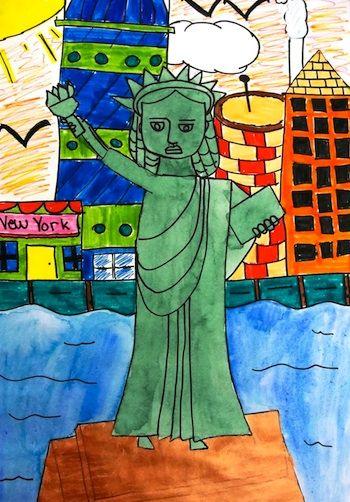 350x502 Deep Space Sparkle Lady Liberty Art 2nd Grade Art Lessons