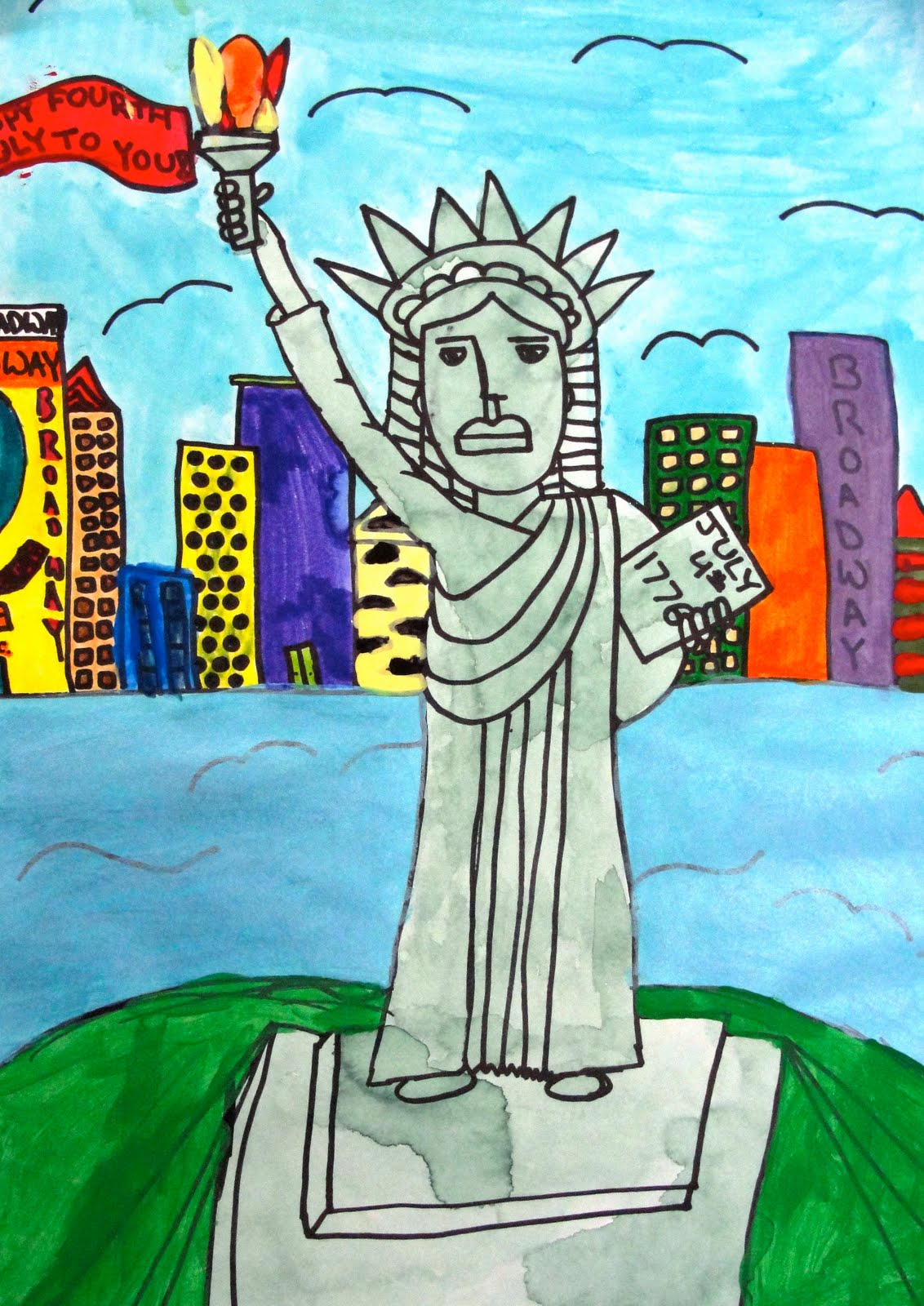 1132x1600 Lady Liberty With Watercolor Or Newspaper Deep Space Sparkle