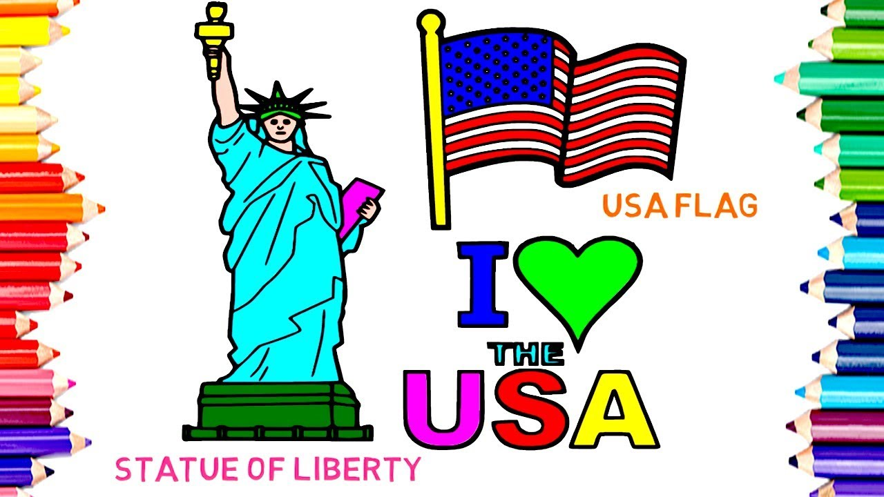 1280x720 How To Draw And Paint Colors Statue Of Liberty Amp Usa