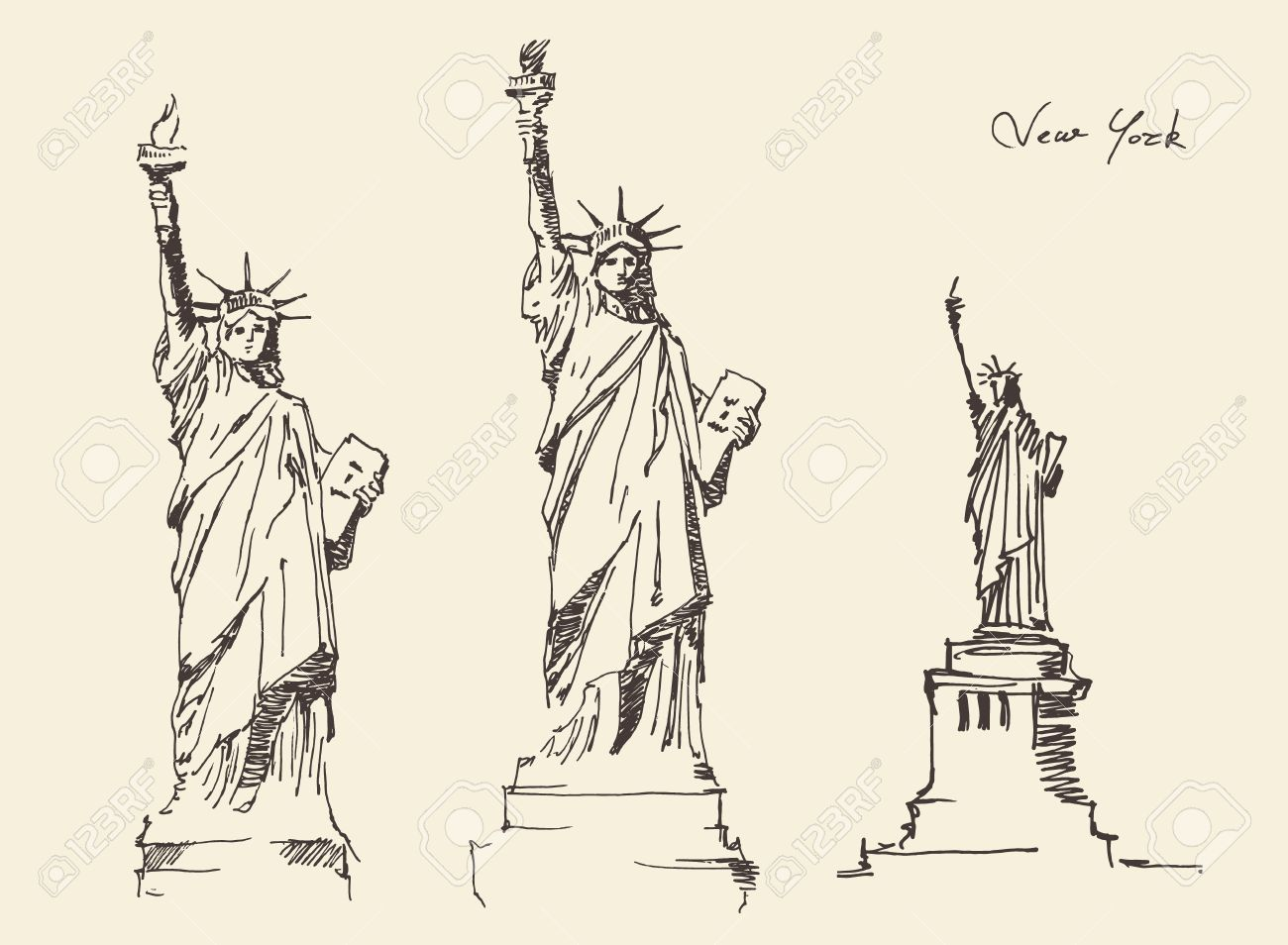 1300x954 Statue Of Liberty Hand Drawn Vintage Engraved Illustration Sketch