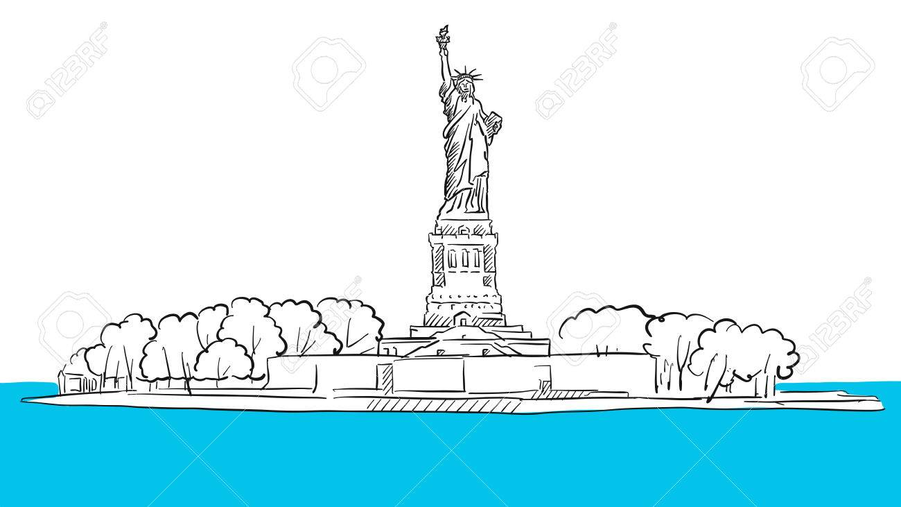 1300x731 Statue Of Liberty Island Areal Sketch, Hand Drawn Outline Artwork