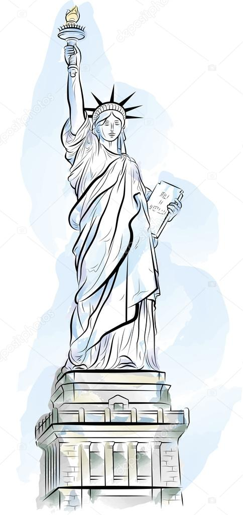 484x1024 Drawing Color Statue Of Liberty In New York, Usa Stock Vector