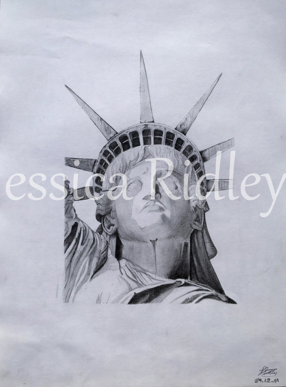 570x773 Original Statue Of Liberty Pencil Sketch