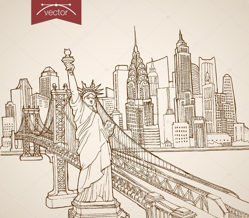 1024x896 Sketch Statue Of Liberty, Manhattan Skyscrapers Stock Vector