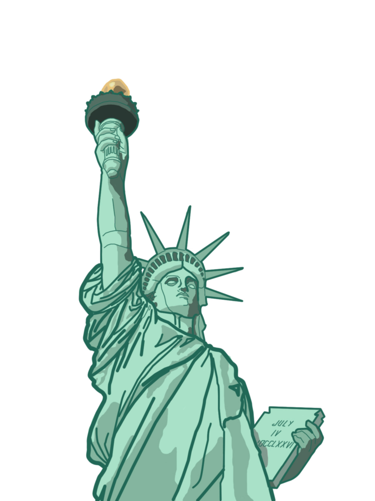 1200x1600 Statue Of Liberty Cartoon Drawing How To Draw Statue Of Liberty