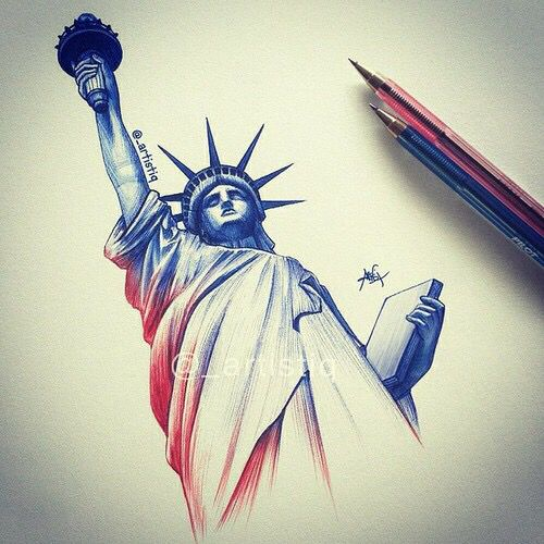 500x500 Statue Of Liberty Colored Pencils Art Art Colored Pencils