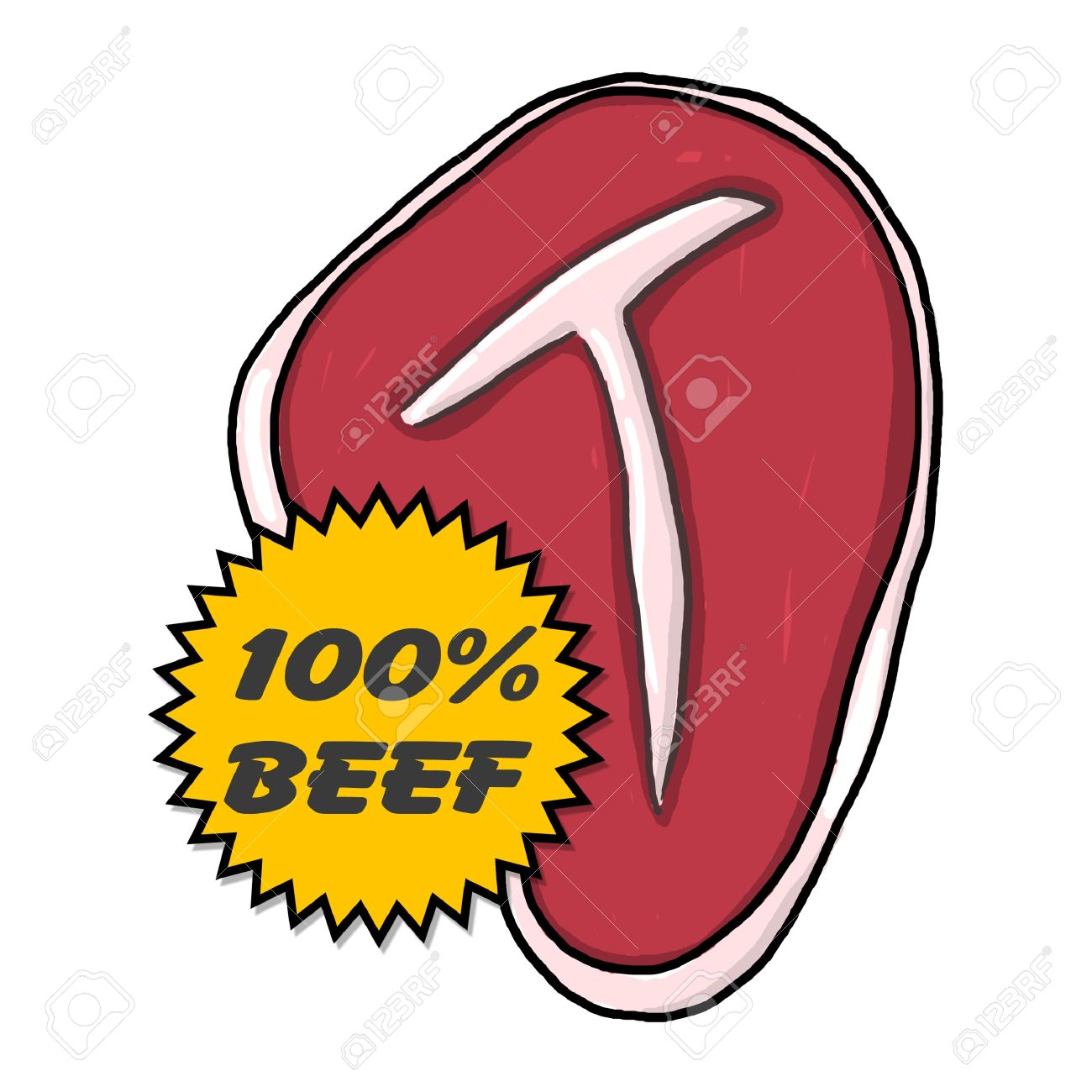 1300x1300 Steak Illustration Juicy Steak With 100% Beef Seal T Bone Steak