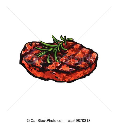 450x470 Grilled Beef Steak, Beefsteak With Rosemary, Sketch Style