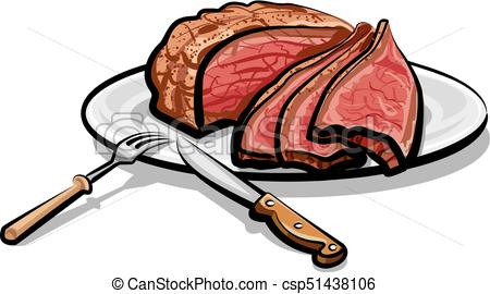 450x270 Illustration Of Cooked Roast Beef Meat On Plate Vector Clipart