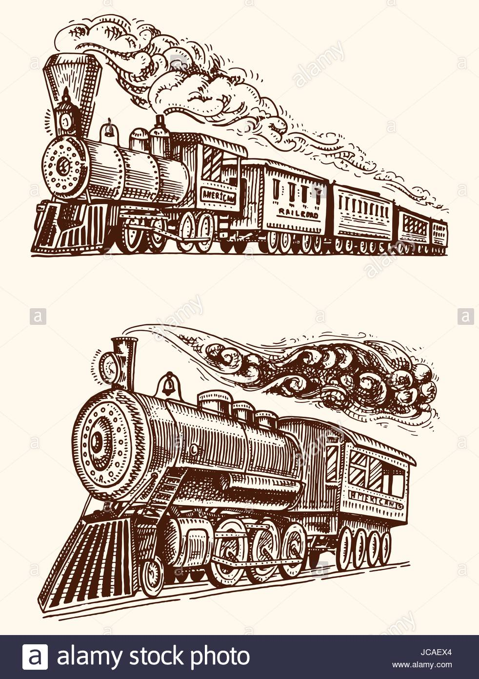 982x1390 Engraved Vintage, Hand Drawn, Old Locomotive Or Train With Steam