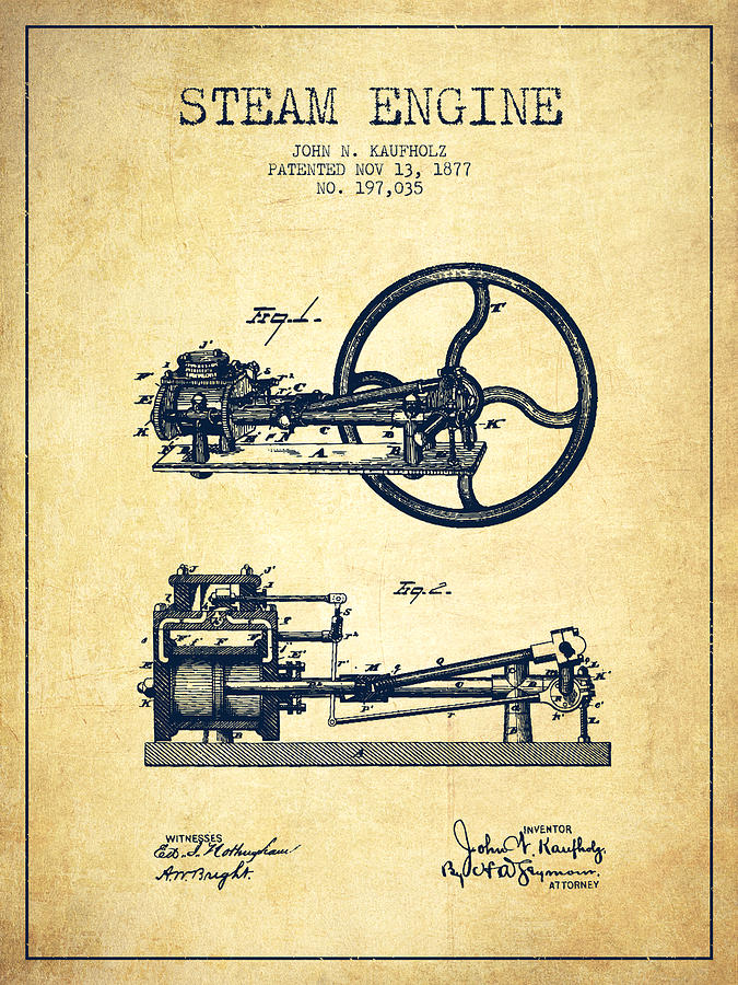 675x900 Kaufholz Steam Engine Patent Drawing From 1877 Vintage Digital