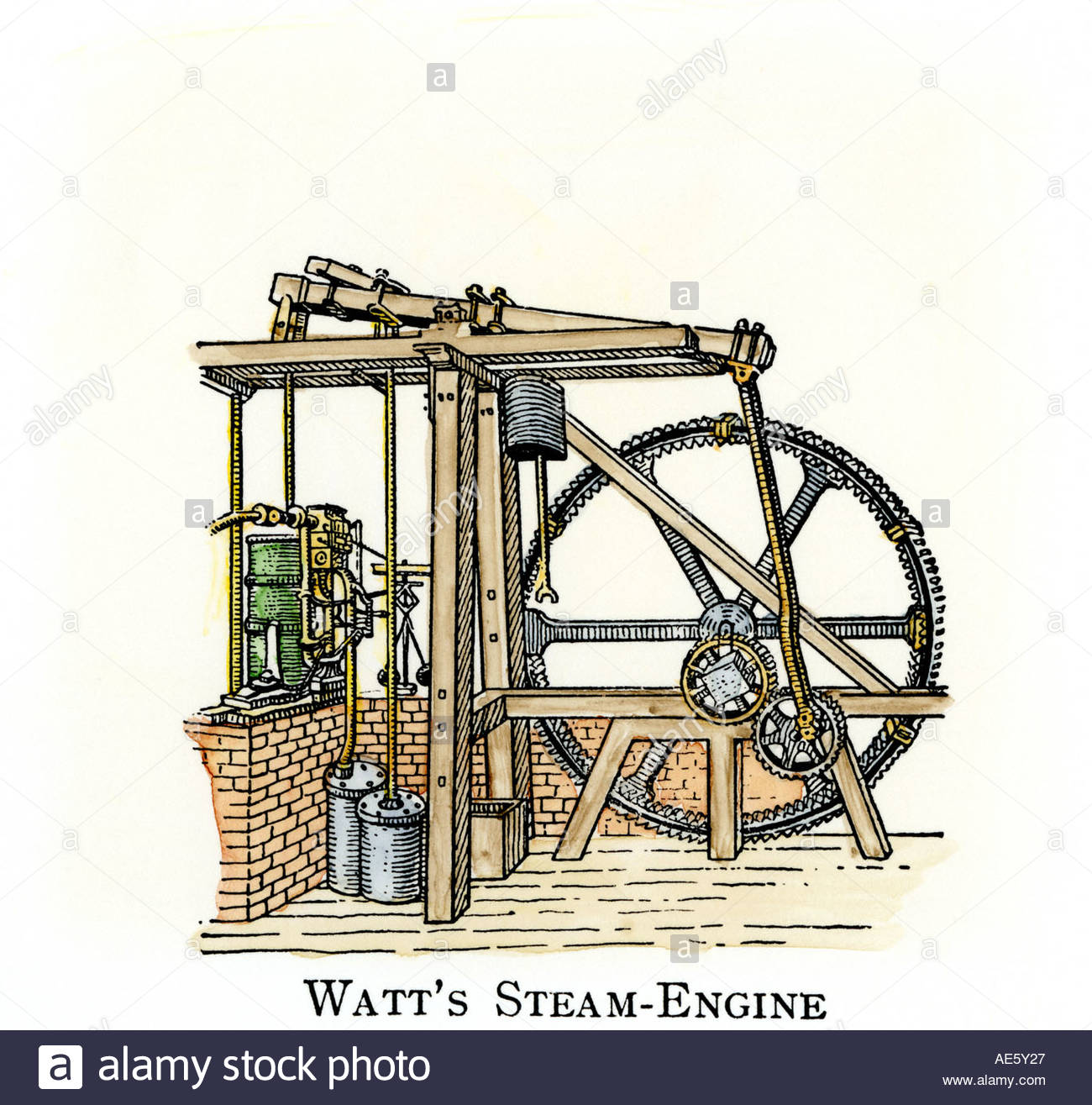 1300x1315 Schematic Drawing Of James Watt Steam Engine Stock Photo 4433702