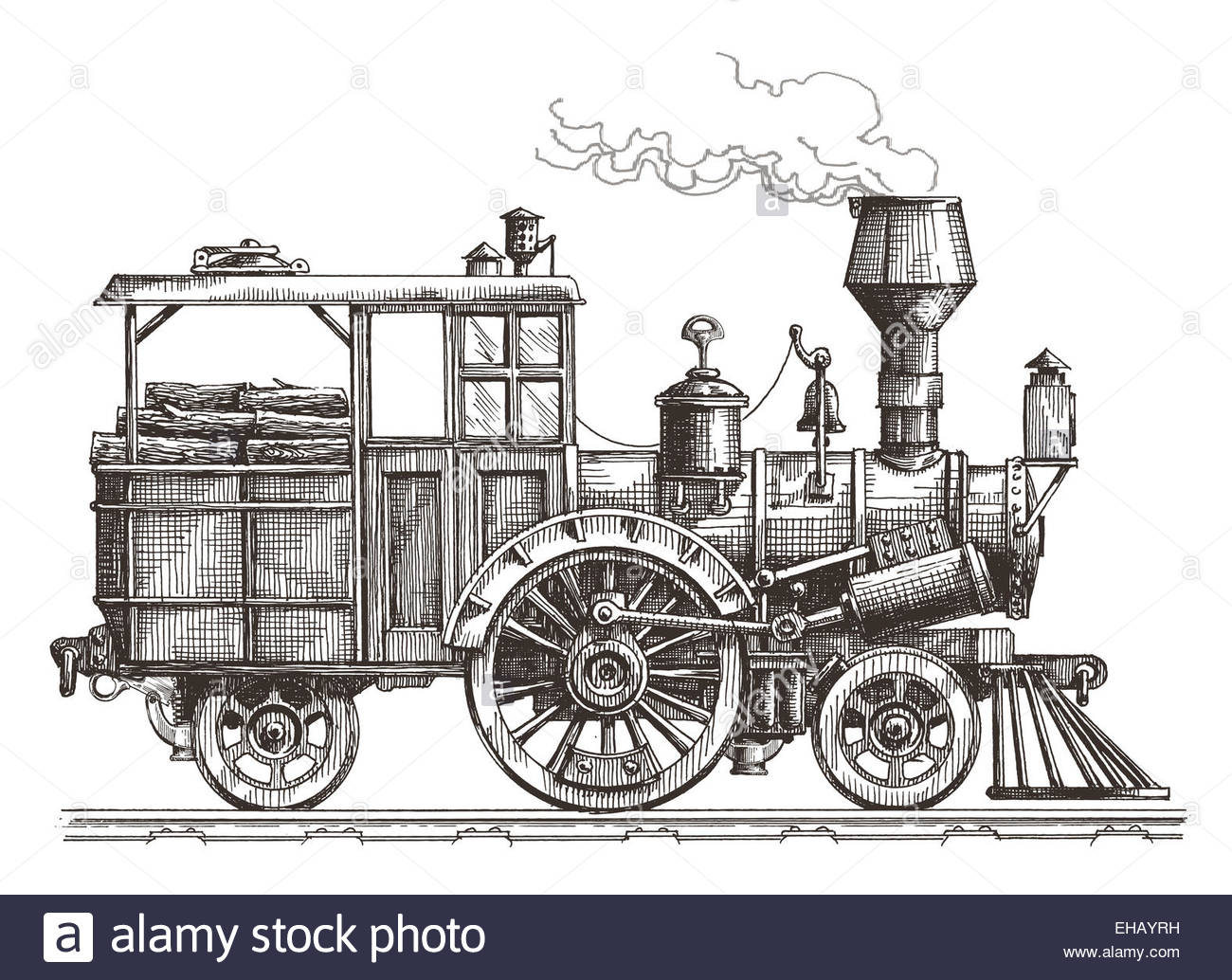 1300x1034 Vintage Steam Locomotive. Drawn Ancient Train, Transport. Vector
