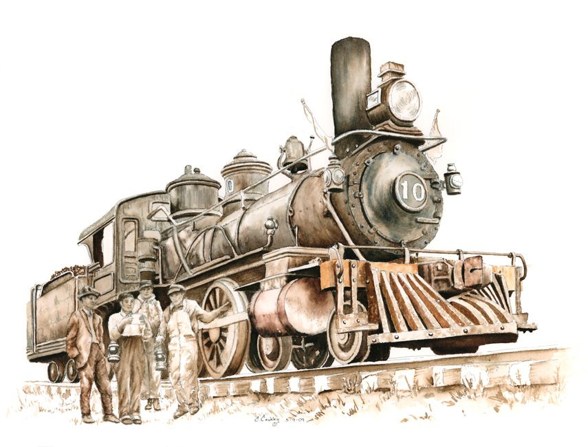 855x650 Old Steam Trains Pencil Drawings