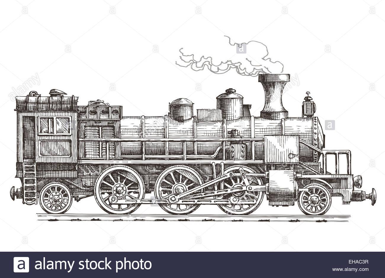 1300x940 Retro Steam Locomotive Vector Logo Design Template. Train