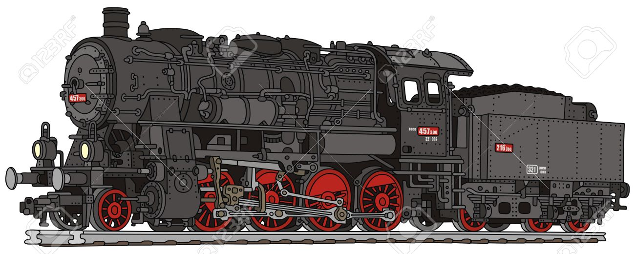 1300x520 Hand Drawing Of A Old Steam Locomotive Royalty Free Cliparts
