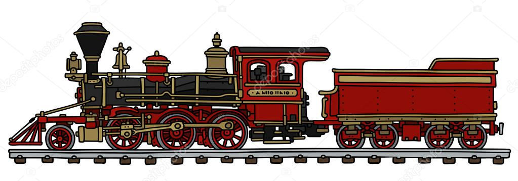 1023x358 Old Red American Steam Locomotive Stock Vector 2v