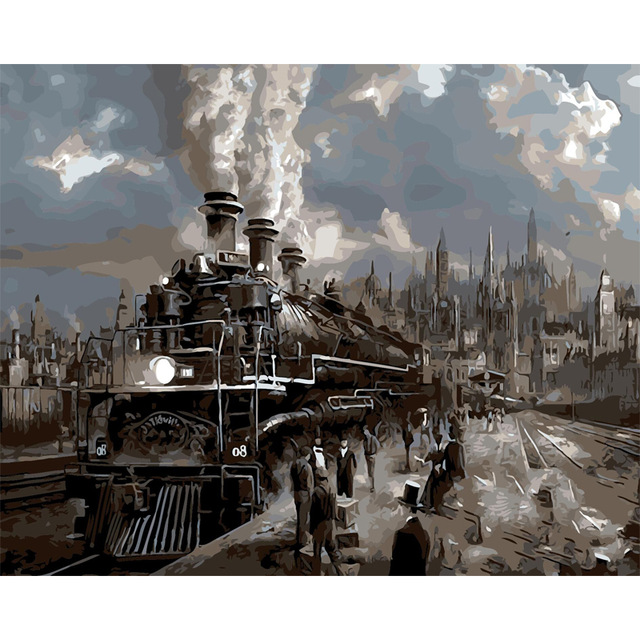 640x640 Steam Locomotive Diy Digital Oil Painting By Numbers Paint Drawing
