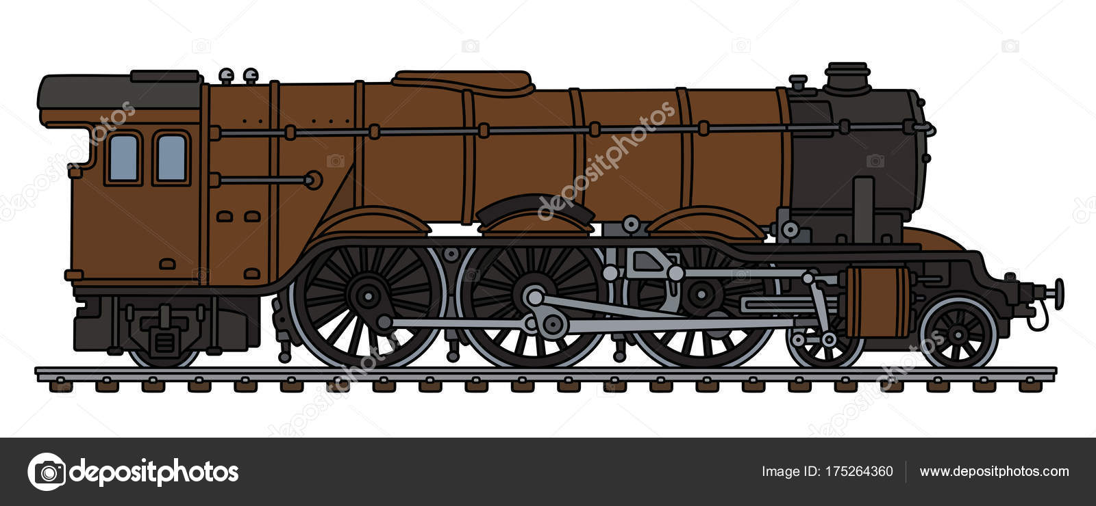 1600x740 Hand Drawing Classic Brown Steam Locomotive Stock Vector 2v