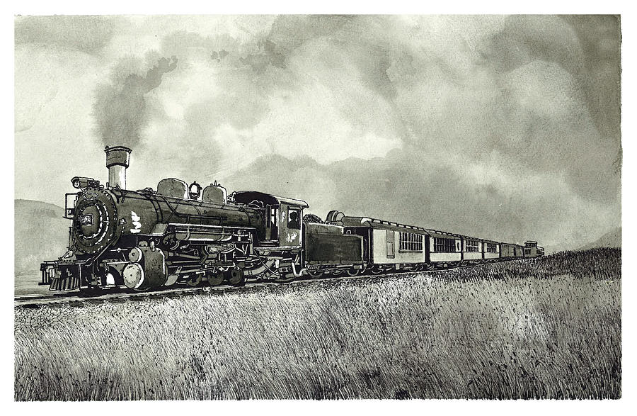 900x587 Old Steam Train Drawing By Jonathan Baldock