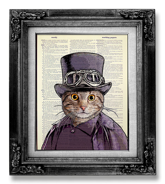 570x636 Steampunk Cat Decor Dictionary Art Print Dictionary Paper