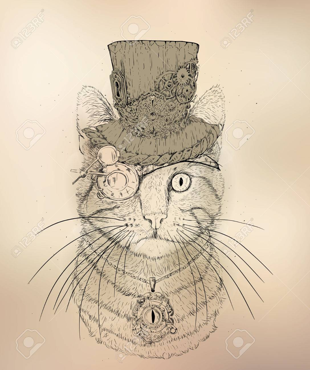 1088x1300 Steampunk Cat In The Hat And Glasses Royalty Free Cliparts