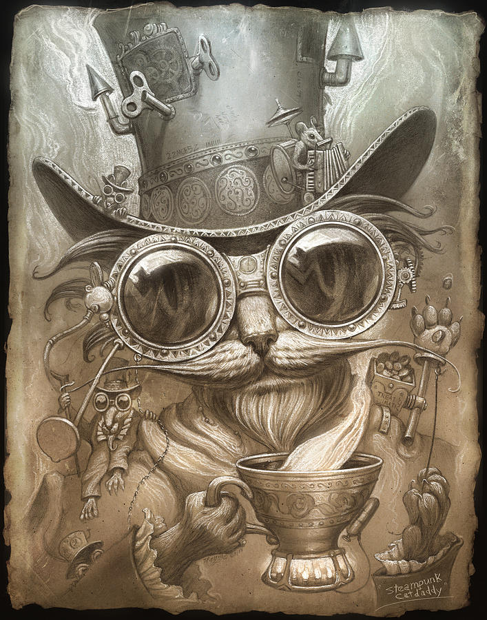 707x900 Steampunk Cat Painting By Jeff Haynie