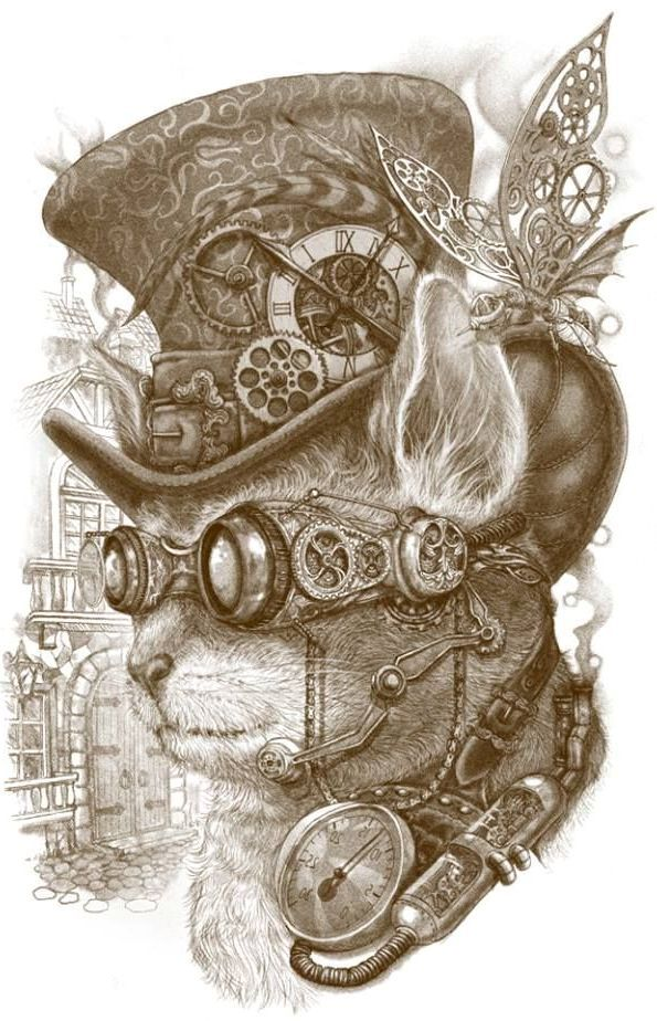 595x924 Steampunk Cat Steampunk Steampunk Cat, Cat And Artist