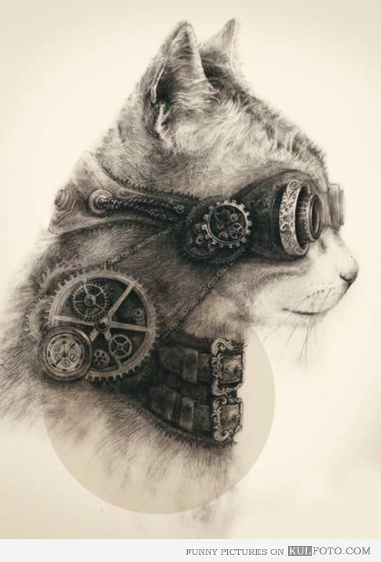 550x811 Steampunk Cat Drawing