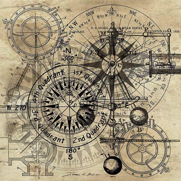 600x600 Kompasstudie Ocean Tattoo, Compass And Decoupage