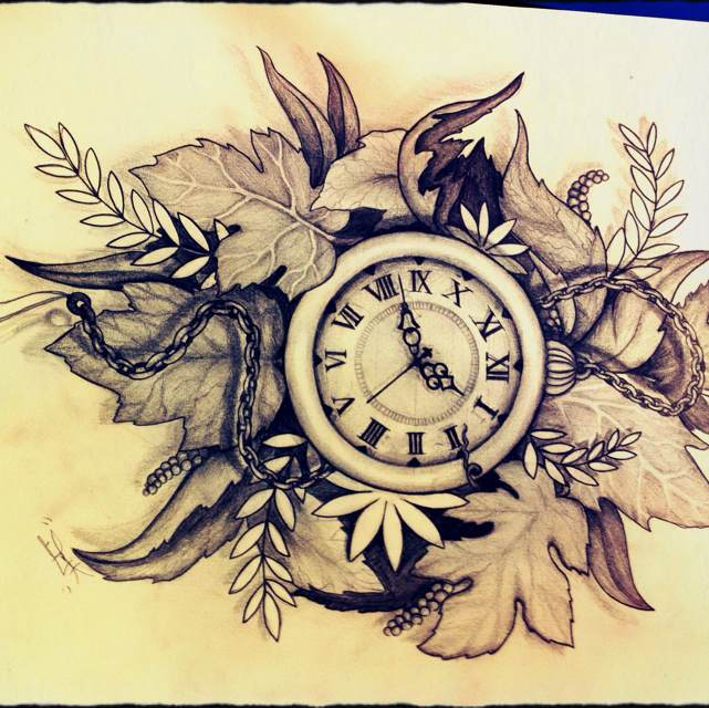 641x640 Pocket Watch Sketch. Beautiful Leaves In The Background.s
