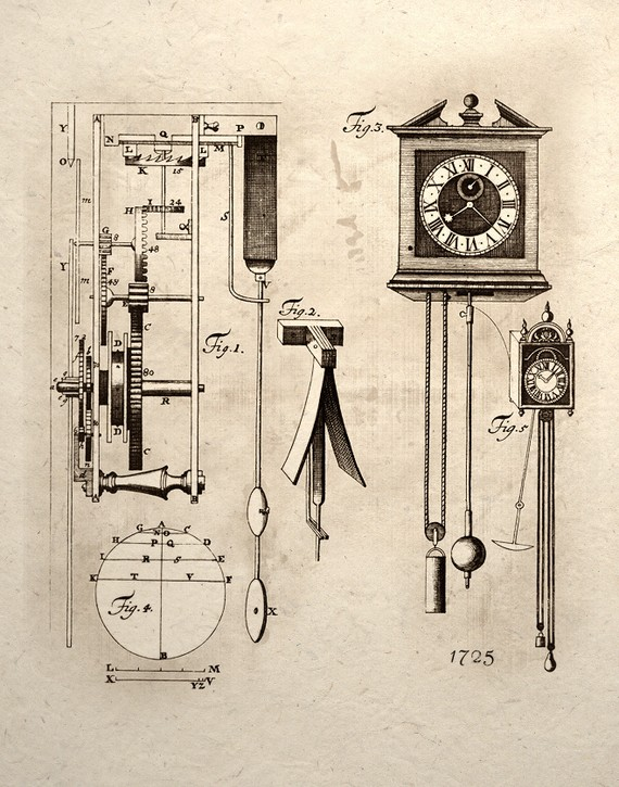 570x725 Steampunk Clock Mechanical Gear System Design Inspire