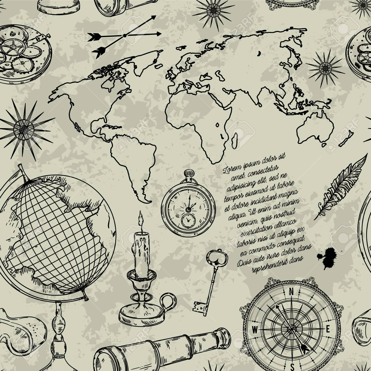 1300x1300 Pattern With Globe, Compass, World Map And Wind Rose. Vintage
