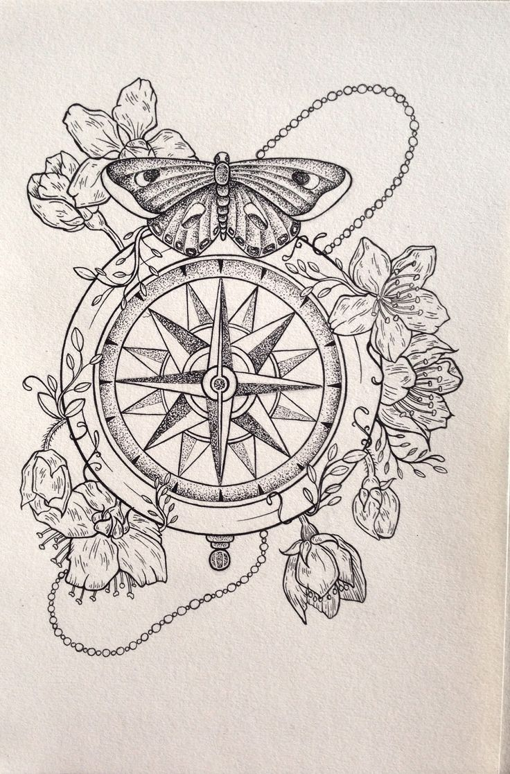 736x1116 Printable Steampunk Compass Drawings