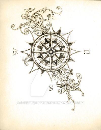 400x516 Steampunk Compass Tattoo
