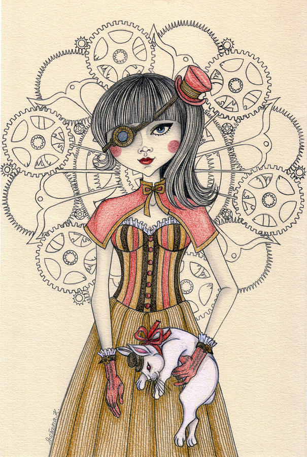 605x900 Steampunk Alice And The White Rabbit Drawing By Snezana Kragulj