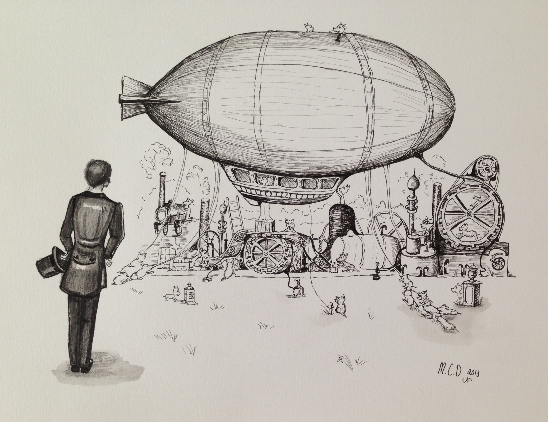 1904x1466 Weekly Drawing 3 Airships, Steampunk And Very Intelligent Animals