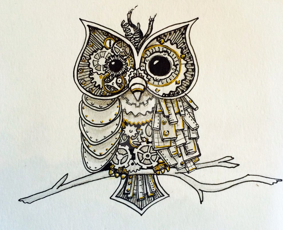 991x806 Owl Steampunk Drawings