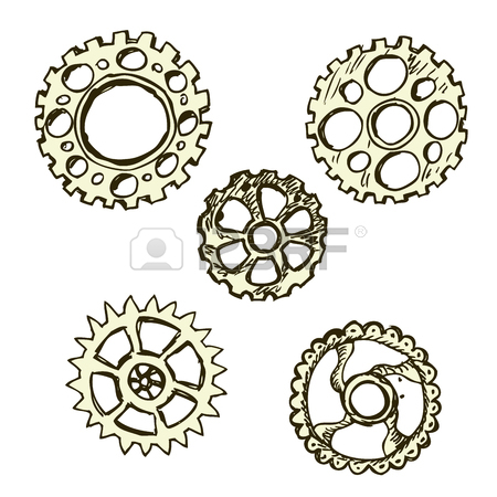 450x450 Steel Gears, Steampunk, Hand Drawing, Vector Illustration Royalty