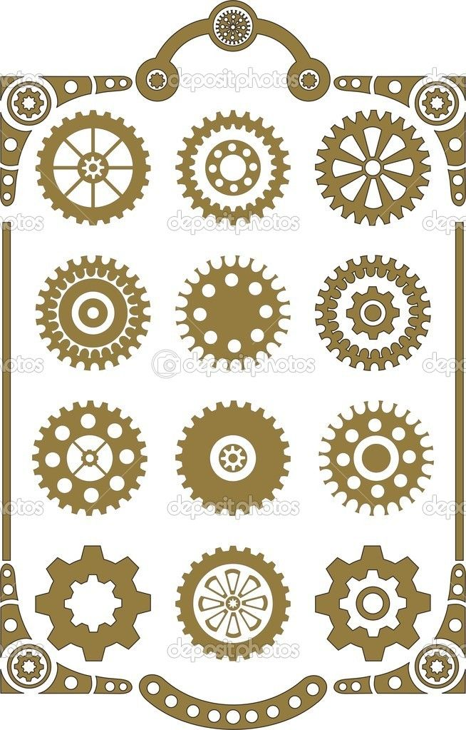654x1023 Steampunk Gears And Cogs Drawing